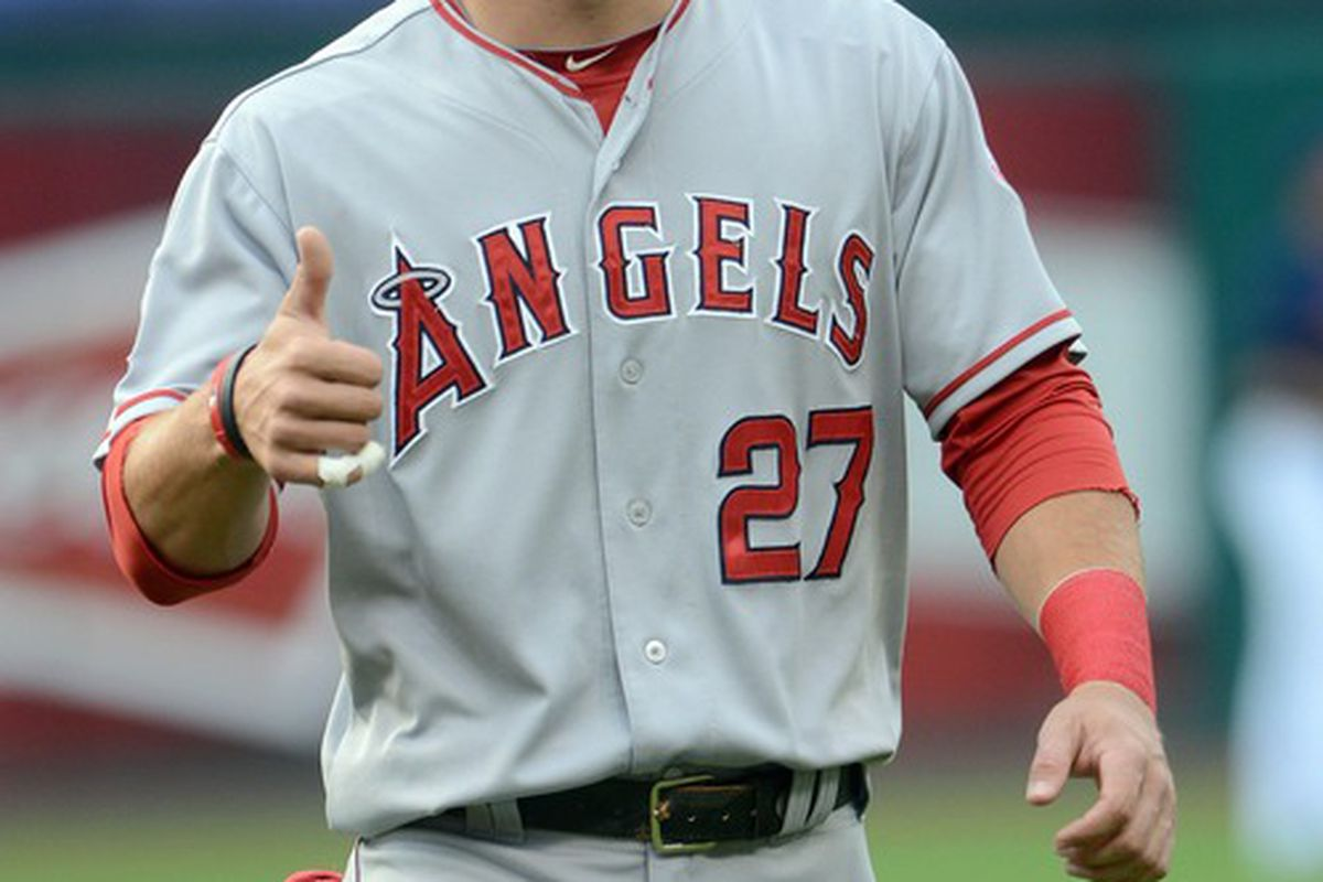 Mike Trout approves of Mike Trout.  Mandatory Credit: Eric P. Mull-USPRESSWIRE
