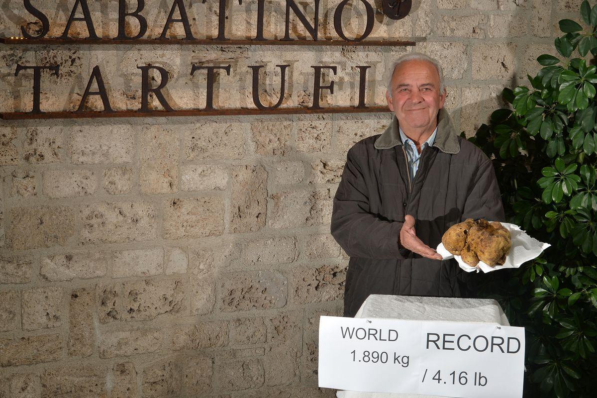 Sabatino Truffles president Piero Balestra in Italy with the record-breaking truffle.