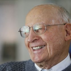 Roger Thompson, 99, laugh at his home in Salt Lake City Friday, Nov 27, 2013.