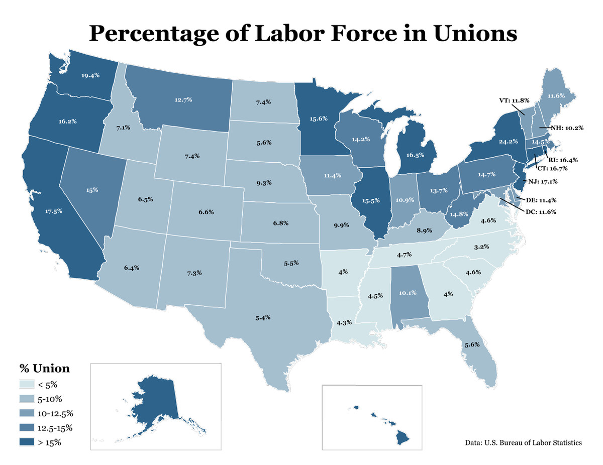 Union membership by state, 2011