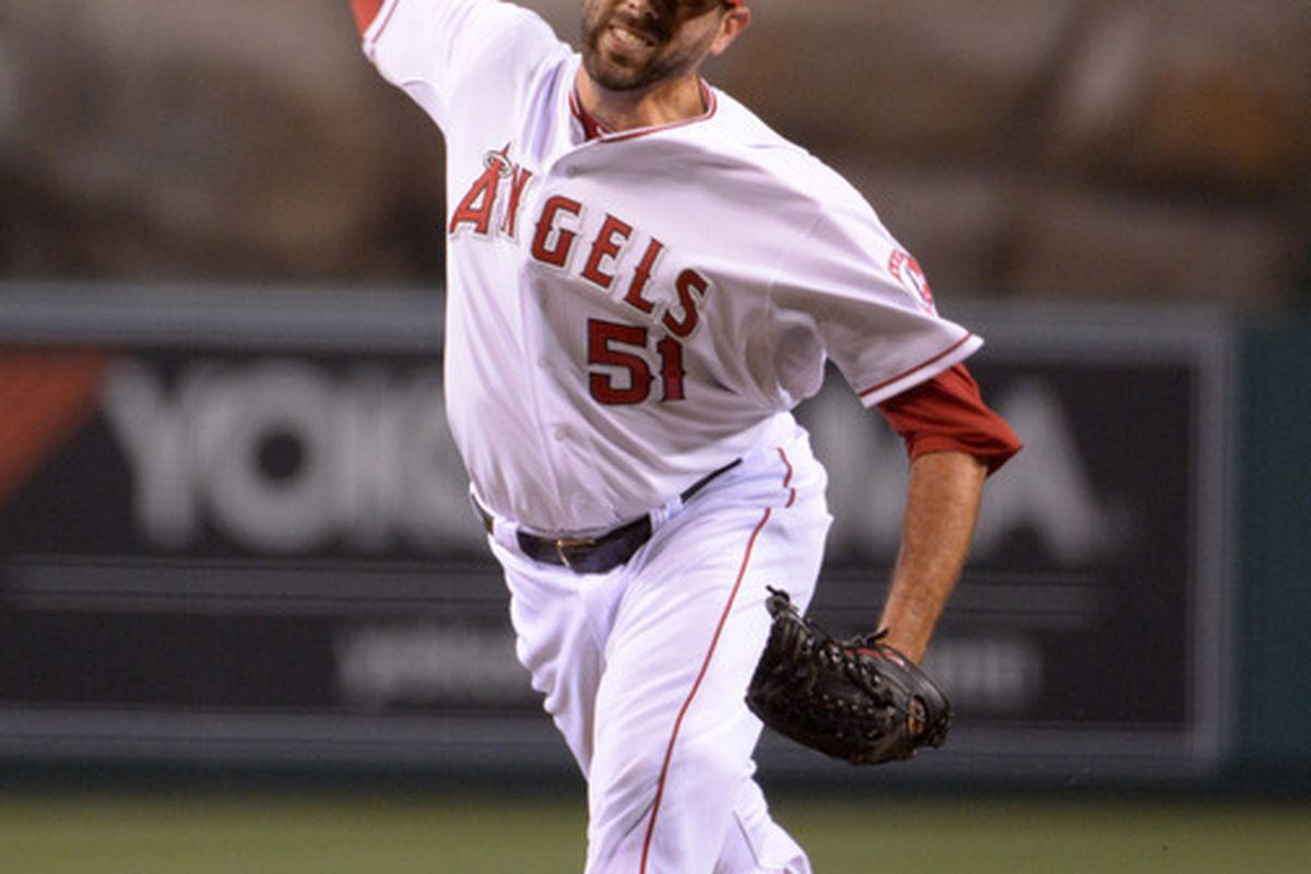 Jul 6, 2012; Anaheim, CA, USA; Los Angeles Angels reliever Jordan Walden (51) delivers a pitch against the Baltimore Orioles at Angel Stadium. The Orioles defeated the Angels 3-2. Mandatory Credit: Kirby Lee/Image of Sport-US PRESSWIRE