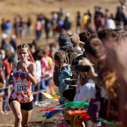 Brynn Esplin of Timpview takes second place in the 5A girls state cross-country championship race at Soldier Hollow in Midway on Thursday, Oct. 22, 2020.