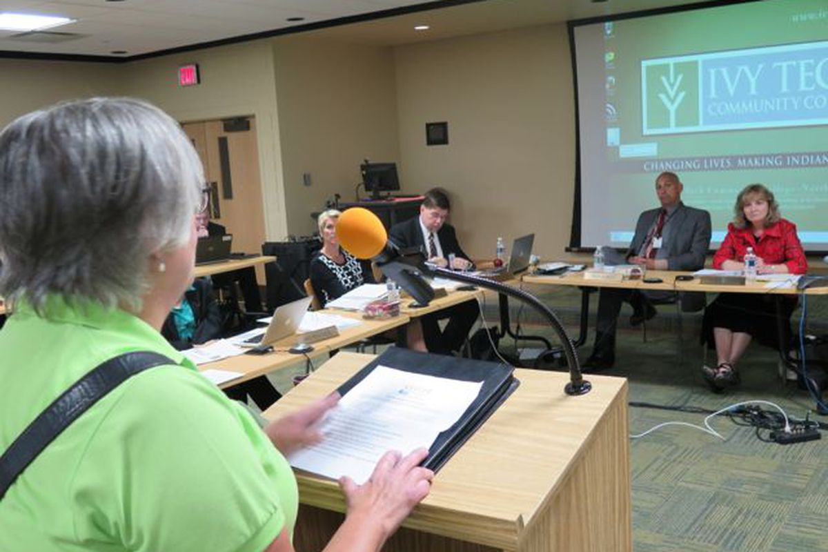 A parent speaks to the Indiana State Board of Education at its meeting today in Fort Wayne.