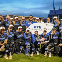 The victorious Brigham Young University Cougars after they defeated the University of Utah Utes at Duke Stadium 5-2 in Salt Lake City on Wednesday, April 18, 2018.
