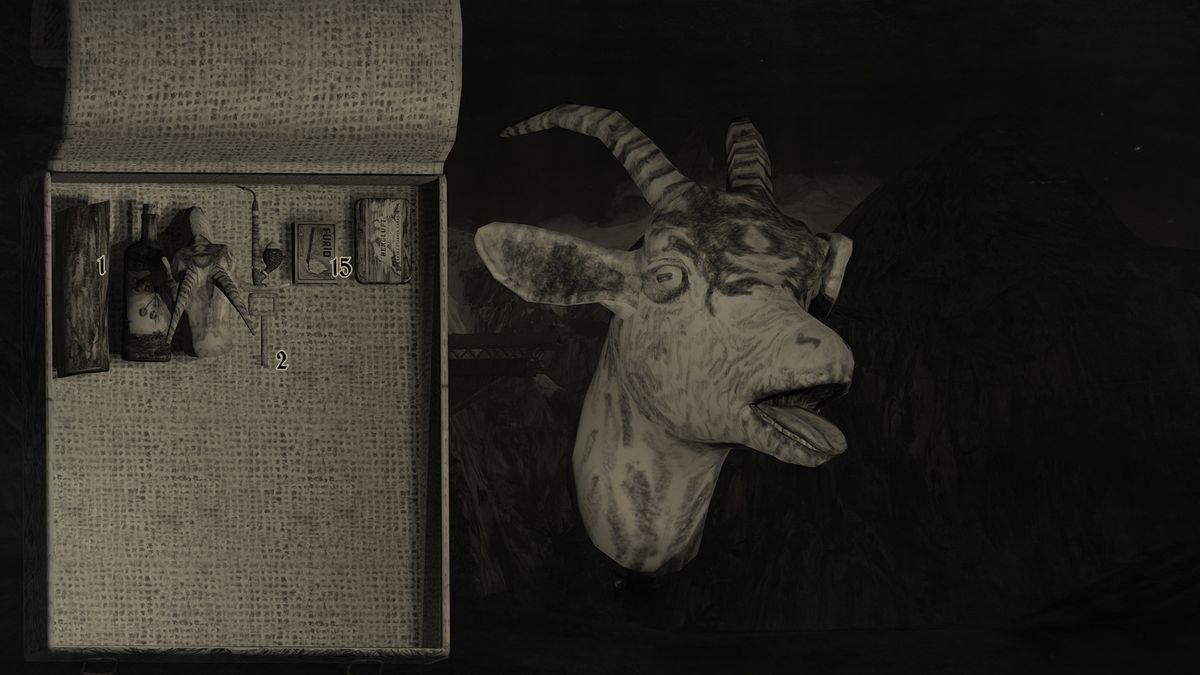 Mundaun: un jugador examina su inventario, prestando especial atención a la cabeza de una cabra cortada, con los ojos aún abiertos.