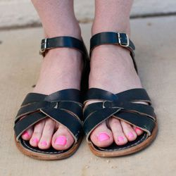 Pale pink is sweet with black flat sandals...