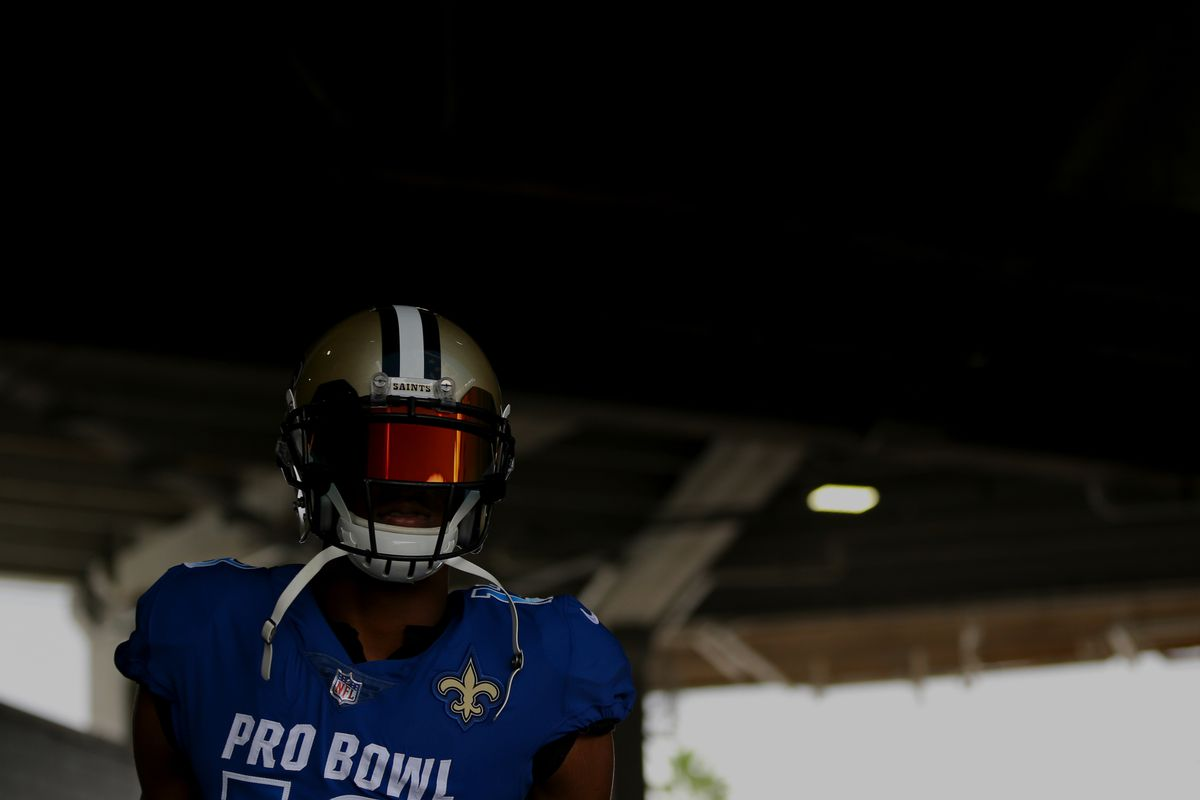 ORLANDO, FL:  New Orleans Saints wide receiver Michael Thomas (13) runs out of the tunnel during player introductions for the 2018 NFL Pro Bowl at Camping World Stadium.