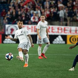 FOXBOROUGH, MA - MAY 25: D.C. United midfielder Luciano Acosta #10 tries to create something on the offensive end for D.C. United during the second half at Gillette Stadium on May 25, 2019 in Foxborough, Massachusetts. (Photo by J. Alexander Dolan - The Bent Musket)