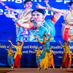 Dancers perform an Indian classical dance of Saraswati and ganesh Vandana during  an  award ceremony in Pune, Maharashtra, India on August 14, 2017.