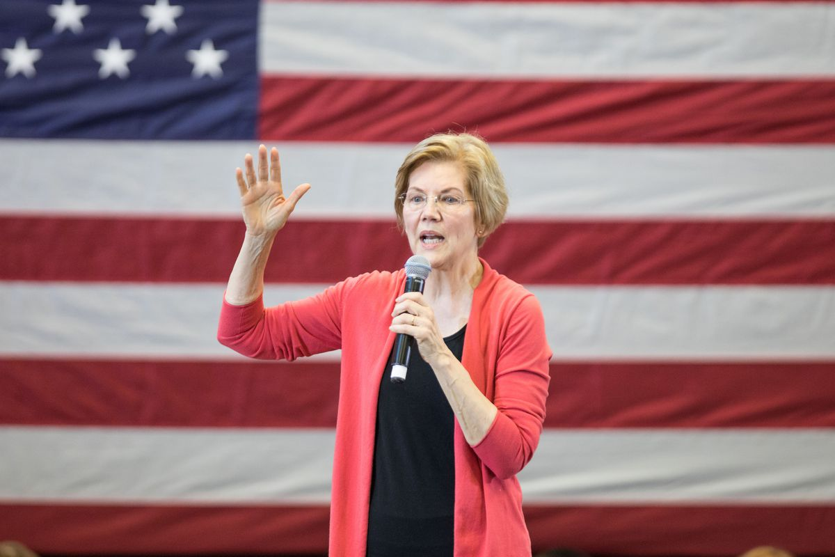 Elizabeth Warren at an organizing event for her presidential campaign in New Hampshire.