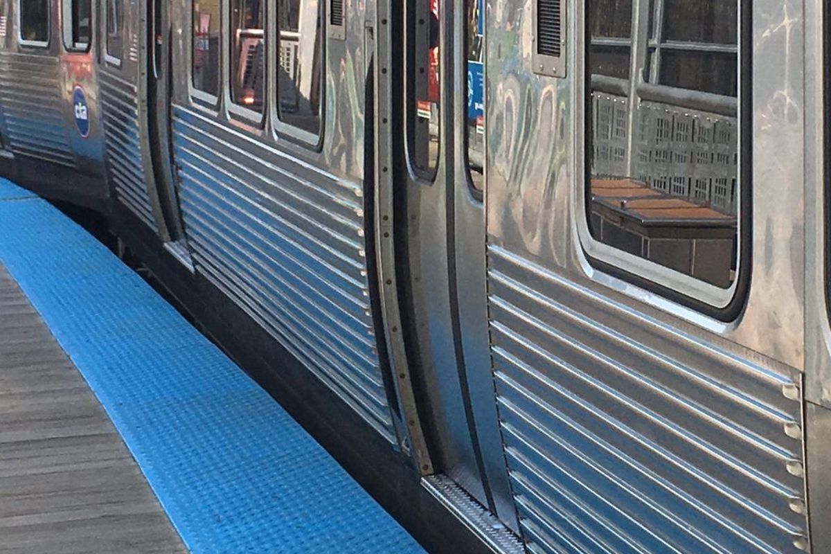 A woman was hit by a train at the Jackson station, suspending service between Grand and UIC-Halsted.