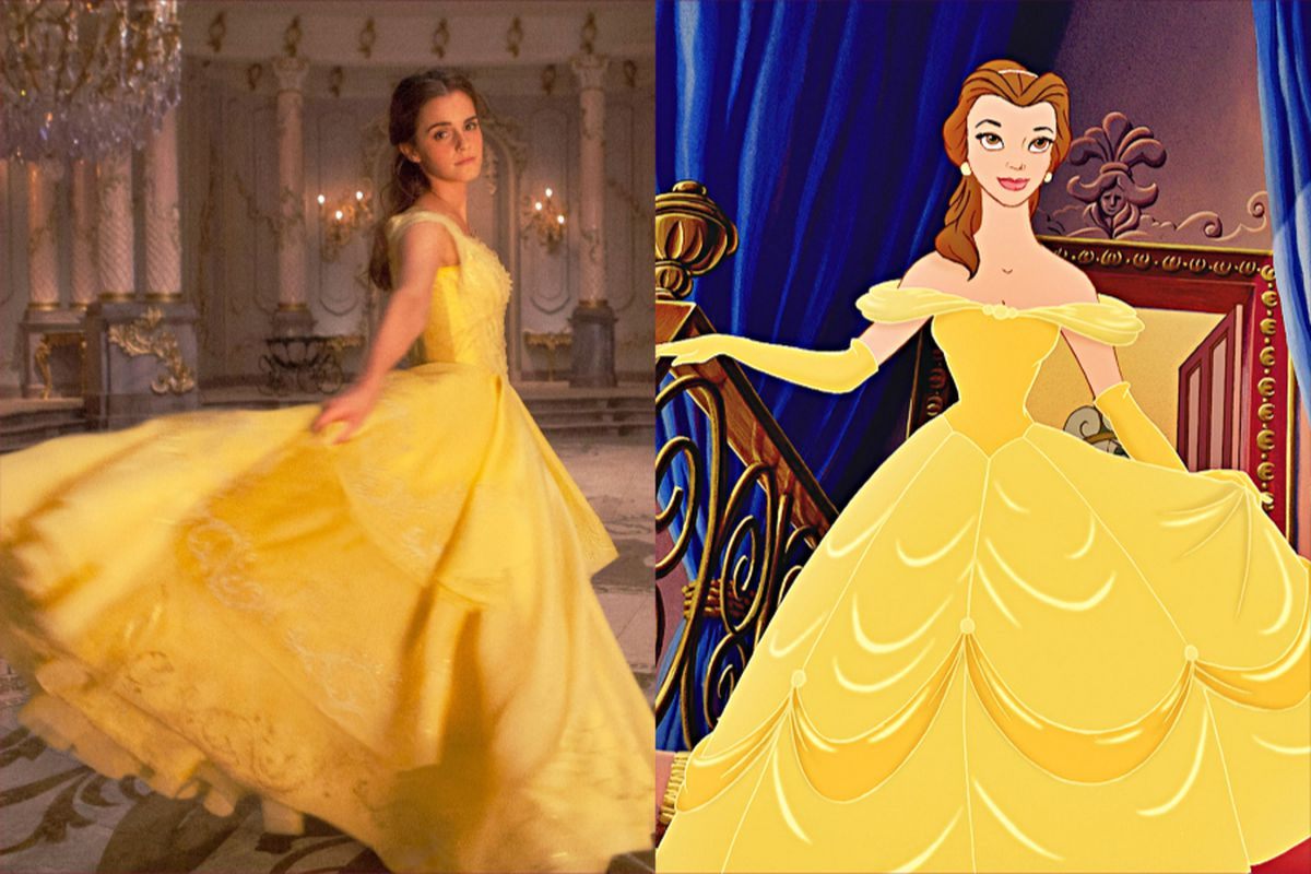 29825eb336 Actress Emma Watson (left) had creative input on the version of Belle s  iconic ballgown she wears in the live-action Beauty and the Beast