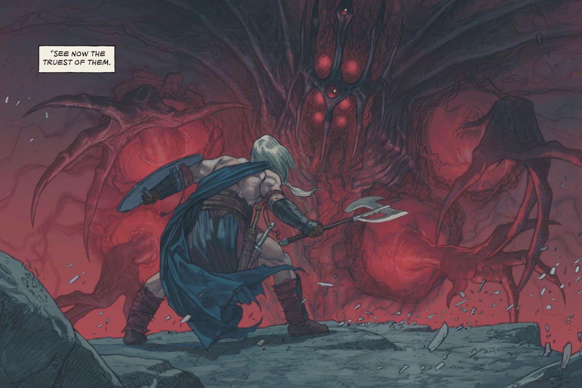 Tyr Godslayer faces Mol Uhltep, the God in the Void, in The Last God #1, DC Comics (2019).