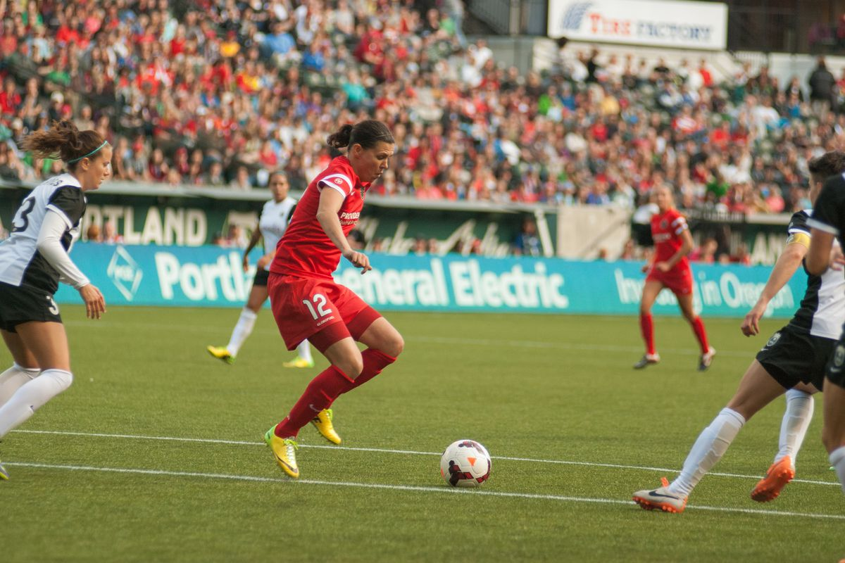 Christine Sinclair lead the line for Portland Sunday night, but was unable to make a breakthrough in a 2-0 loss.