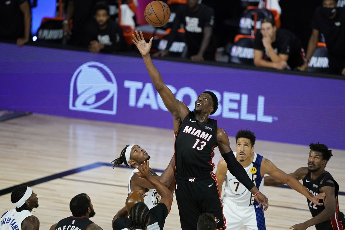 Miami Heat's Bam Adebayo grabs the ball over the Indiana Pacers during the second half in game four of the first round of the 2020 NBA Playoffs at The Field House.