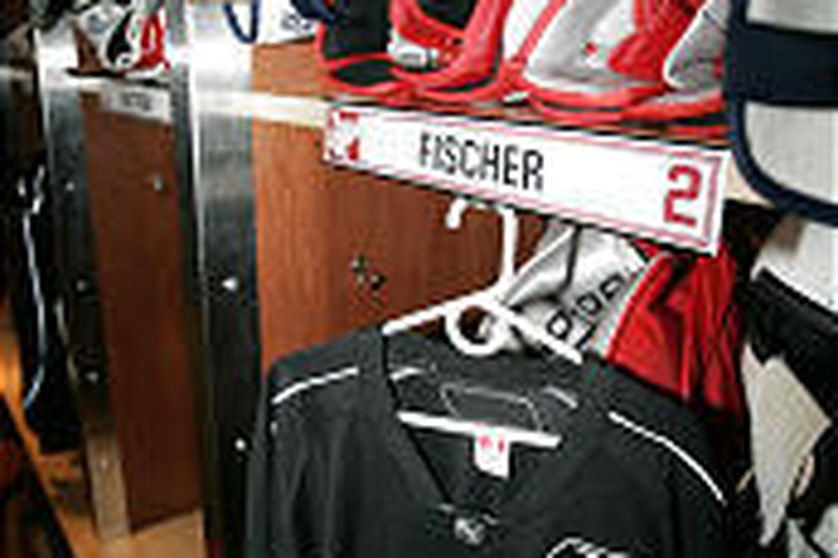 Detroit Red Wings defenseman Jiri Fischer's dressing area is shown in the locker room at the Joe Louis Arena on Tuesday.