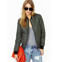 """Bomber Jacket in Army Green, <a href=""""http://wl.nastygal.com/product/lover-army-bomber-jacket/_/searchString/green"""">$68</a> at Nasty Gal"""