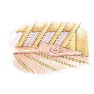 <p>To install fiberglass batts over existing insulation, lay the batts perpendicular to the joists so they do not compress the insulation below</p>