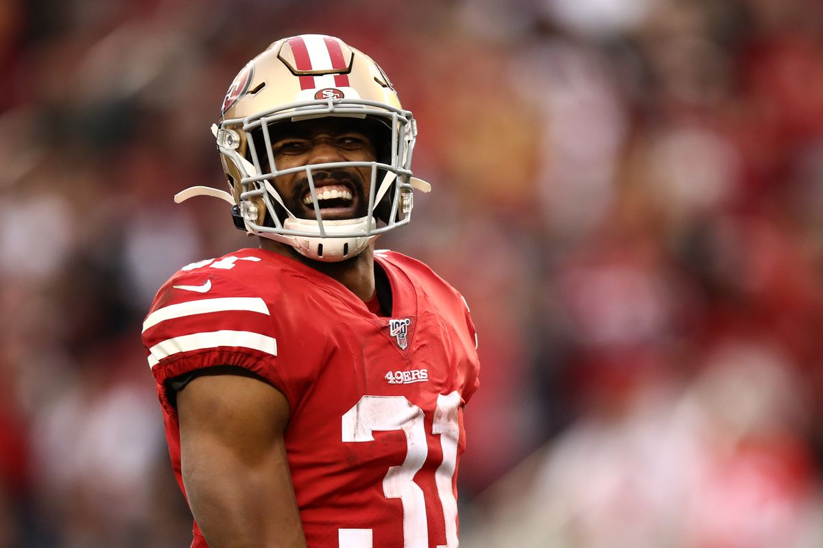 Raheem Mostert #31 of the San Francisco 49ers reacts to a run in the first half against the Green Bay Packers during the NFC Championship game at Levi's Stadium on January 19, 2020 in Santa Clara, California.
