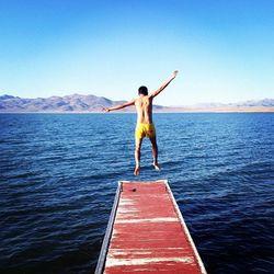 """""""Jump!!!!!"""" at Pyramid Lake"""
