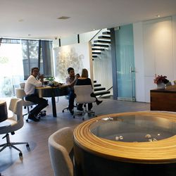 Jeweler Todd Reed (that's him on the left!) in the midst of a private client consultation on the second floor.