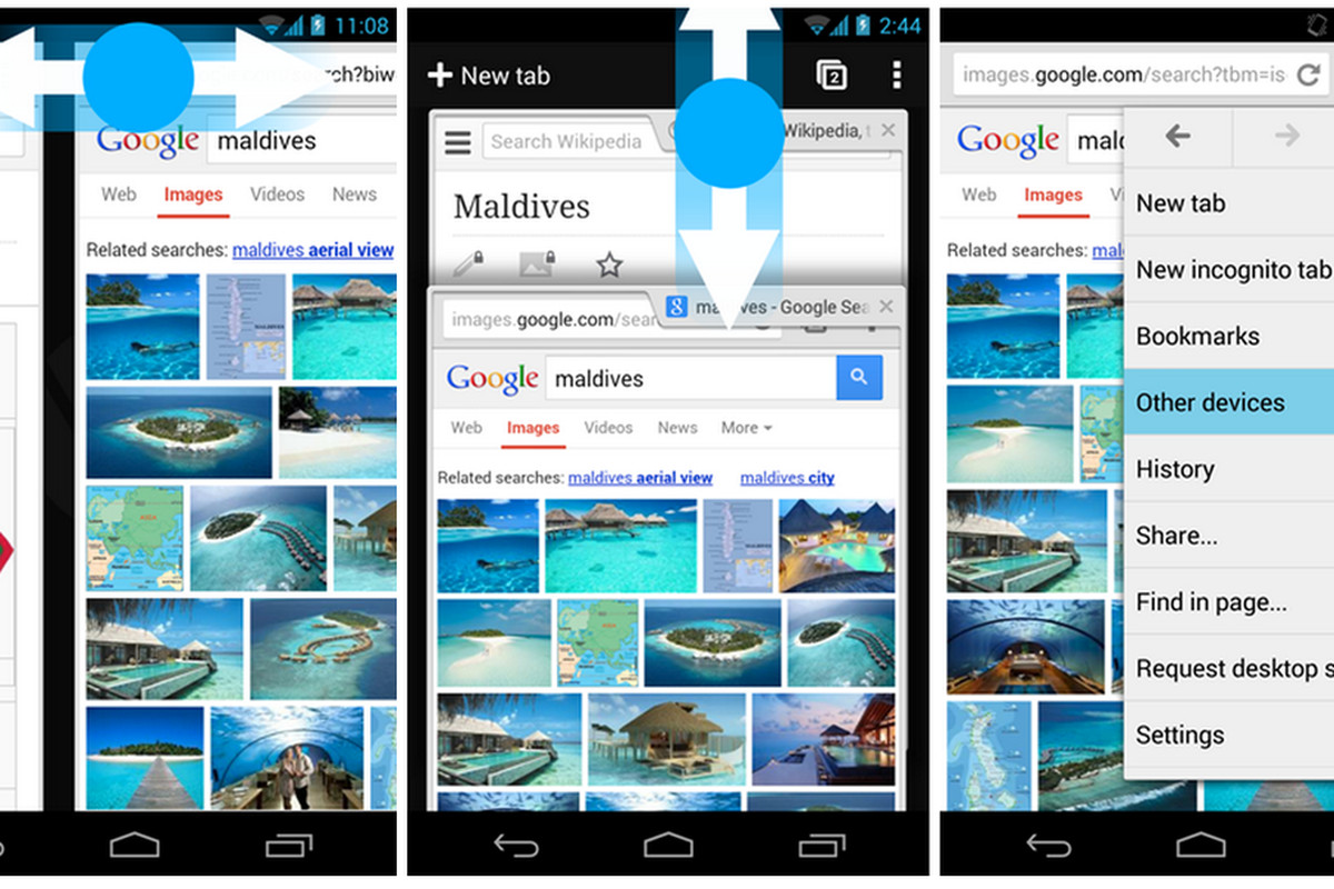 Chrome Android gestures