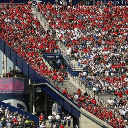 Wisconsin Badgers and BYU Cougars fans fill the stands at LaVell Edwards Stadium in Provo on Saturday, Sept. 16, 2017.