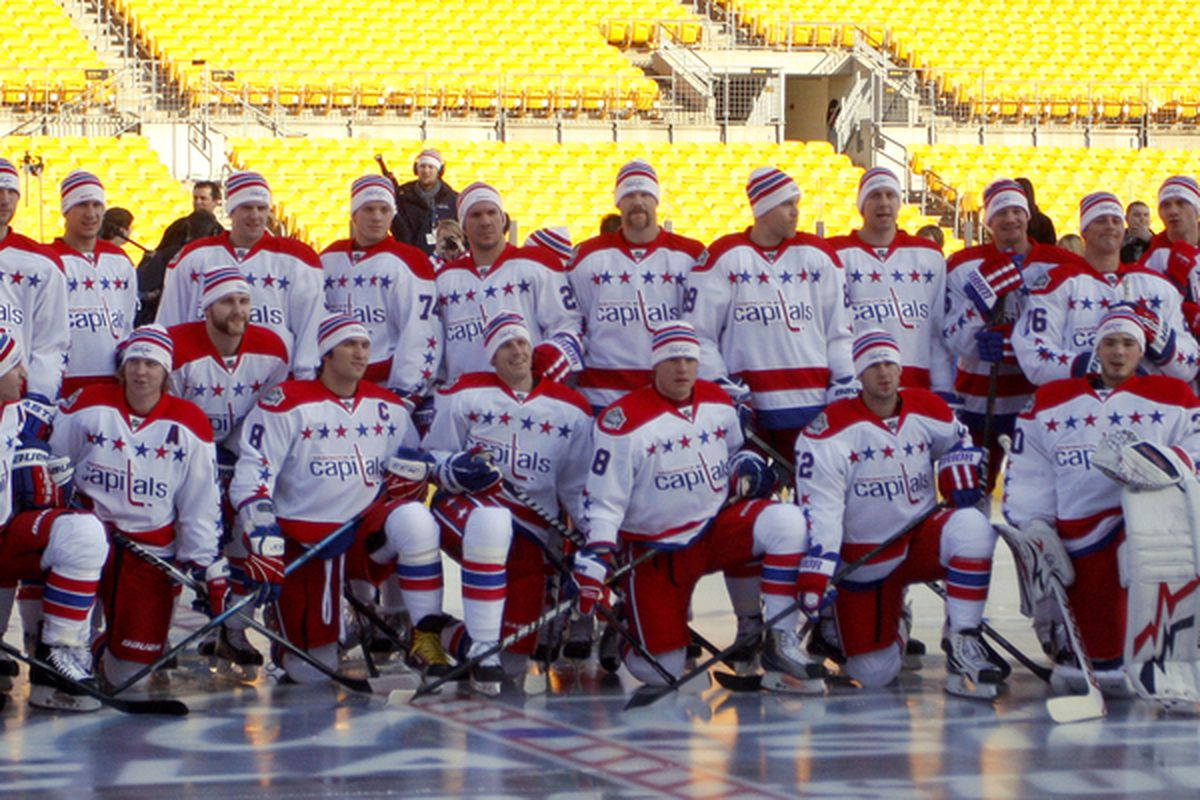 PITTSBURGH PA - DECEMBER 31:  The Washington Capitals pose for their team photo during the 2011 NHL Winter Classic Practice on December 31 2010 at Heinz Field in Pittsburgh Pennsylvania.  (Photo by Justin K. Aller/Getty Images)