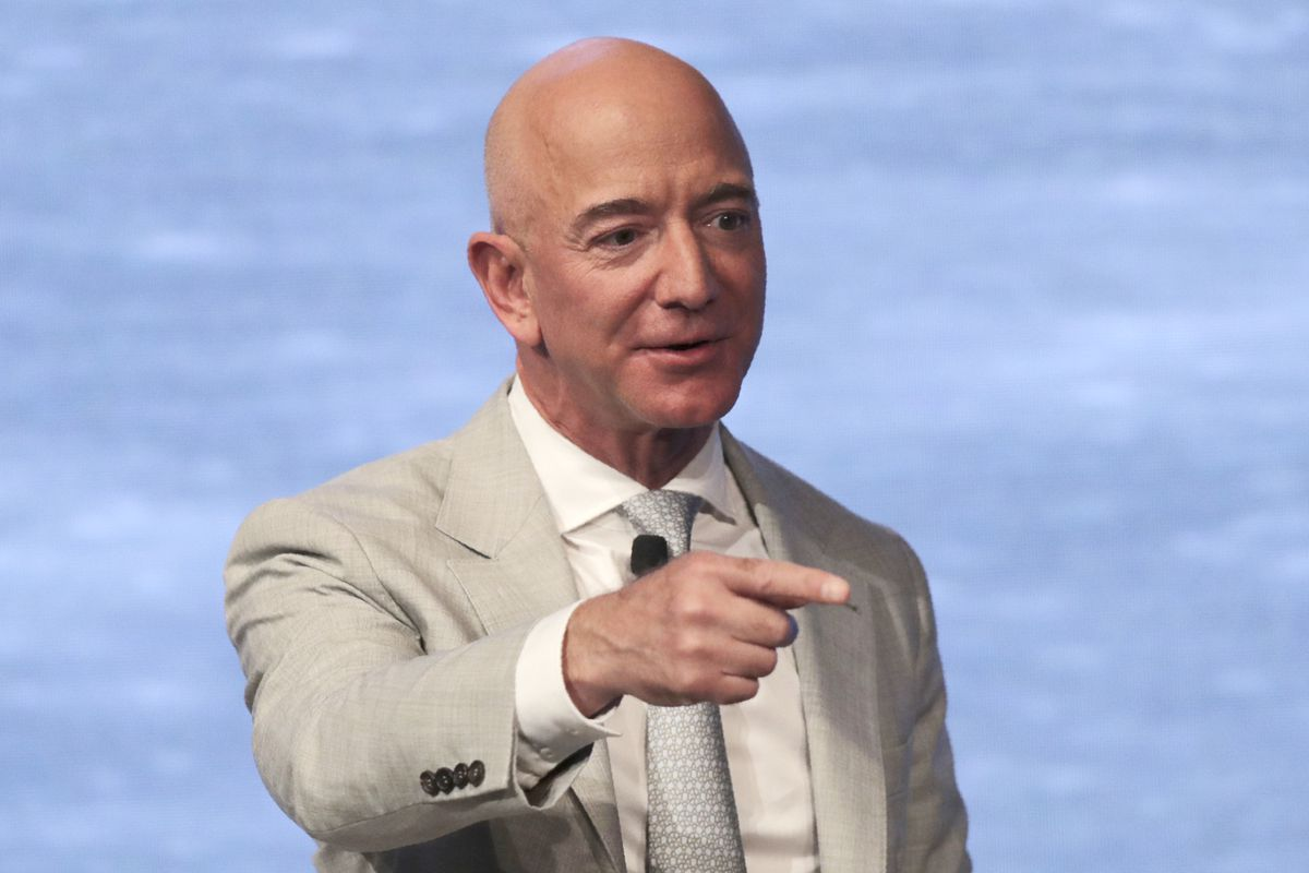 In this June 19, 2019, file photo, Amazon founder Jeff Bezos speaks during the JFK Space Summit at the John F. Kennedy Presidential Library in Boston.
