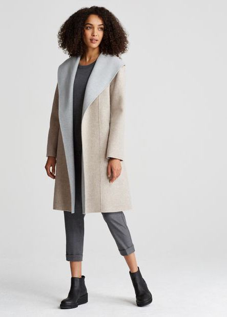 12b938f096a Eileen Fisher Brushed Wool Double Face Coat