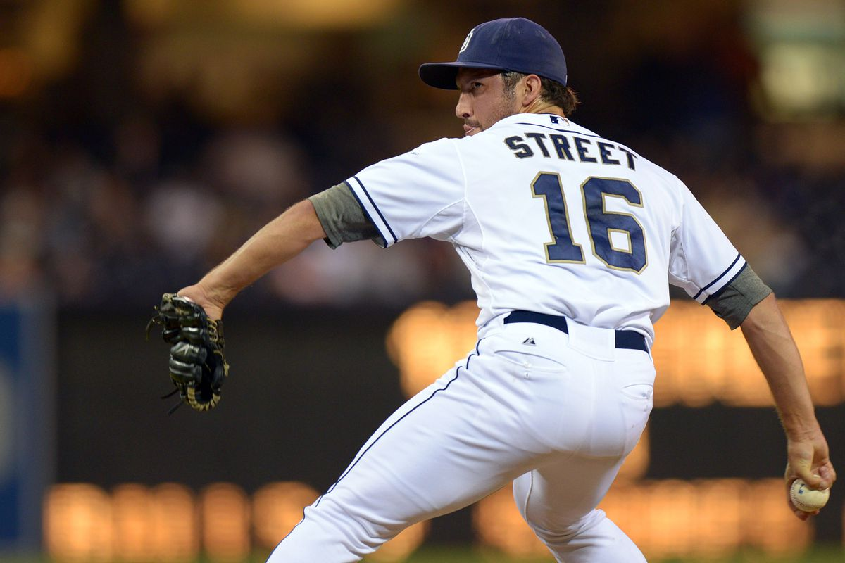 Aug 7, 2012; San Diego, CA, USA; San Diego Padres relief pitcher Huston Street (16) pitches during the ninth inning against the Chicago Cubs at Petco Park. Mandatory Credit: Jake Roth-US PRESSWIRE