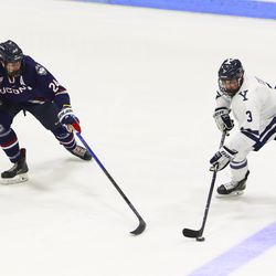 The UConn Huskies take on the Yale Bulldogs in a men's college hockey game at Ingalls Rink in New Haven, CT on December 31, 2018.