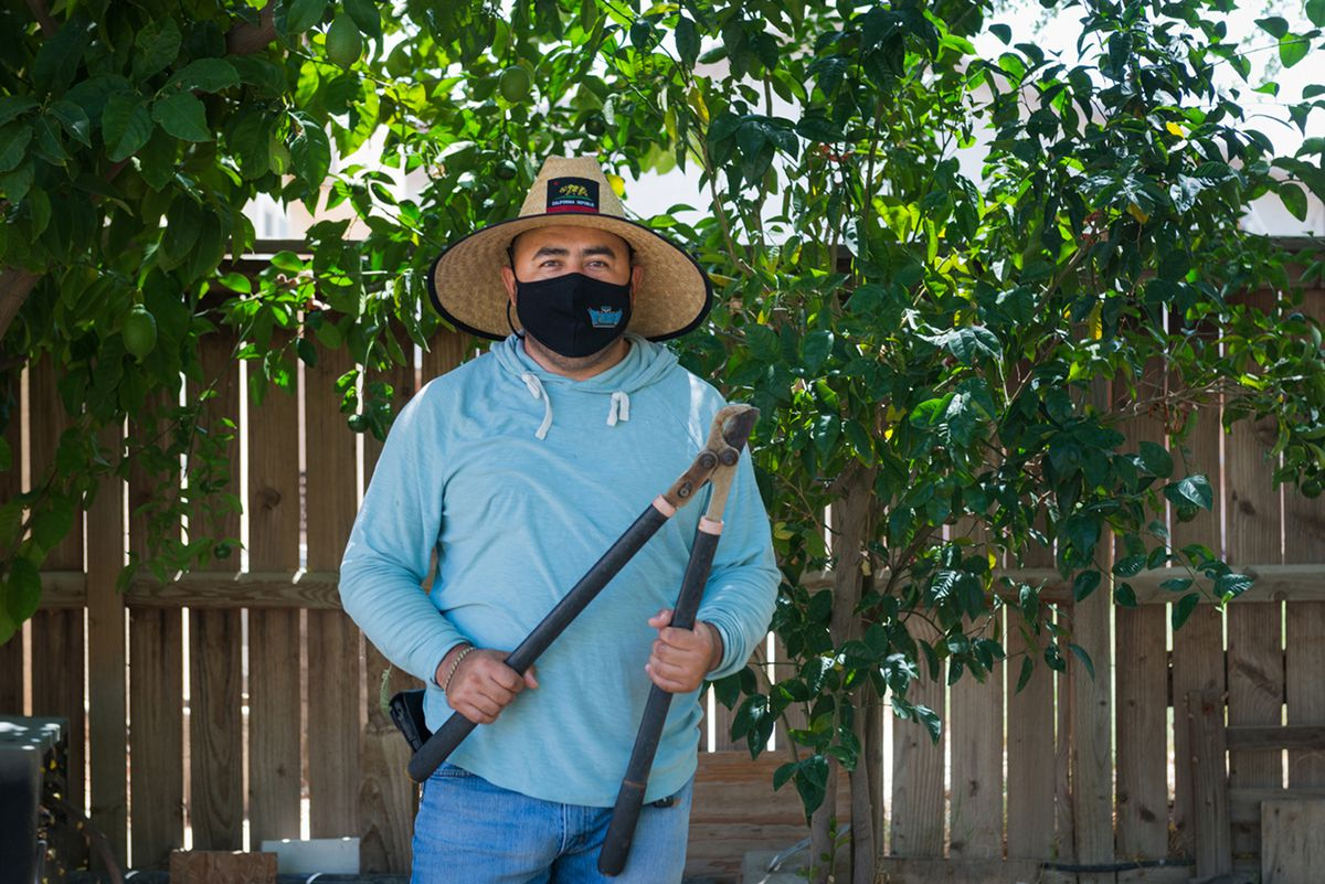 """Jaime Isidoro has been working California farm fields since he migrated from Puebla, Mexico, in 2000. Isidoro says most farm workers wear a thin shirt underneath their clothes to combat the heat. """"You start to work, you start to sweat, and the shirt underneath gets drenched, and you kind of feel refreshed when you're bathed in sweat."""""""
