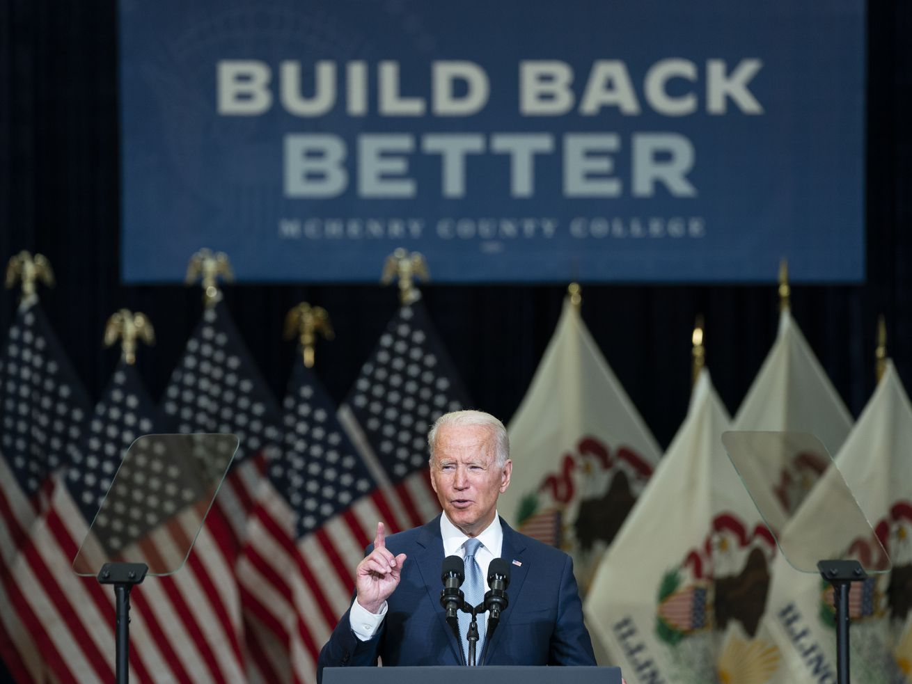 President Joe Biden delivers remarks on infrastructure spending at McHenry County College, Wednesday, July 7, 2021, in Crystal Lake, Ill. (AP Photo/Evan Vucci) ORG XMIT: ILEV105