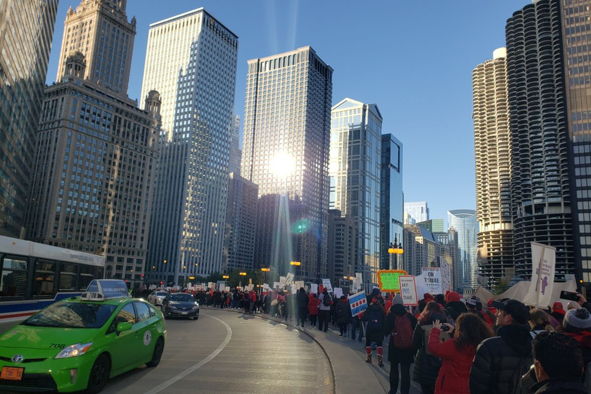 Chicago Teachers Union members lined Wacker Drive in preparation for a march to City Hall and rally on the fifth day of their strike, Oct. 23, 2019.