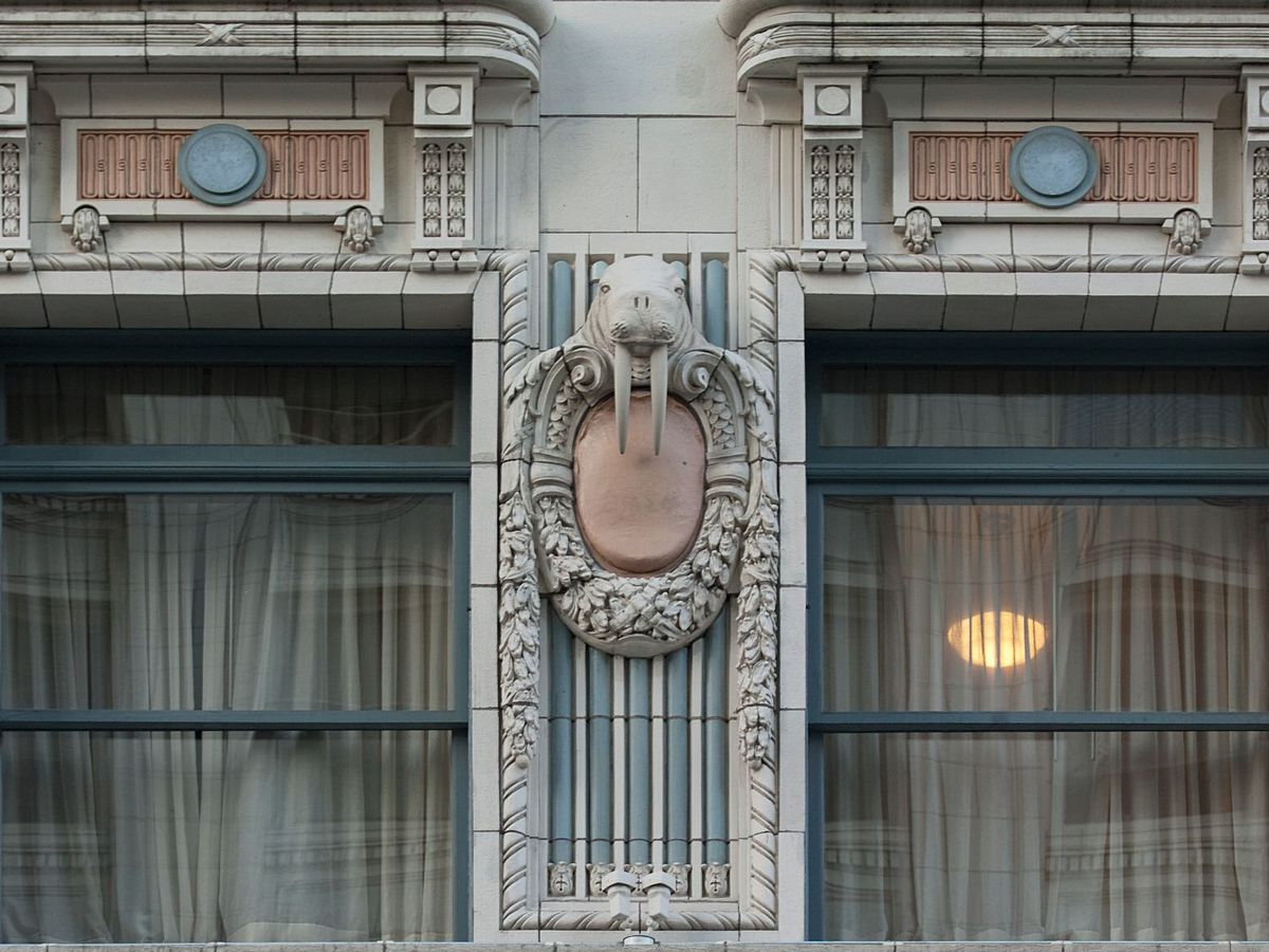 Two windows are surrounded by ornate terra cotta ornamentation, including three walruses, one in the center and one on either side. The wall is gray, with light blue and red accents.