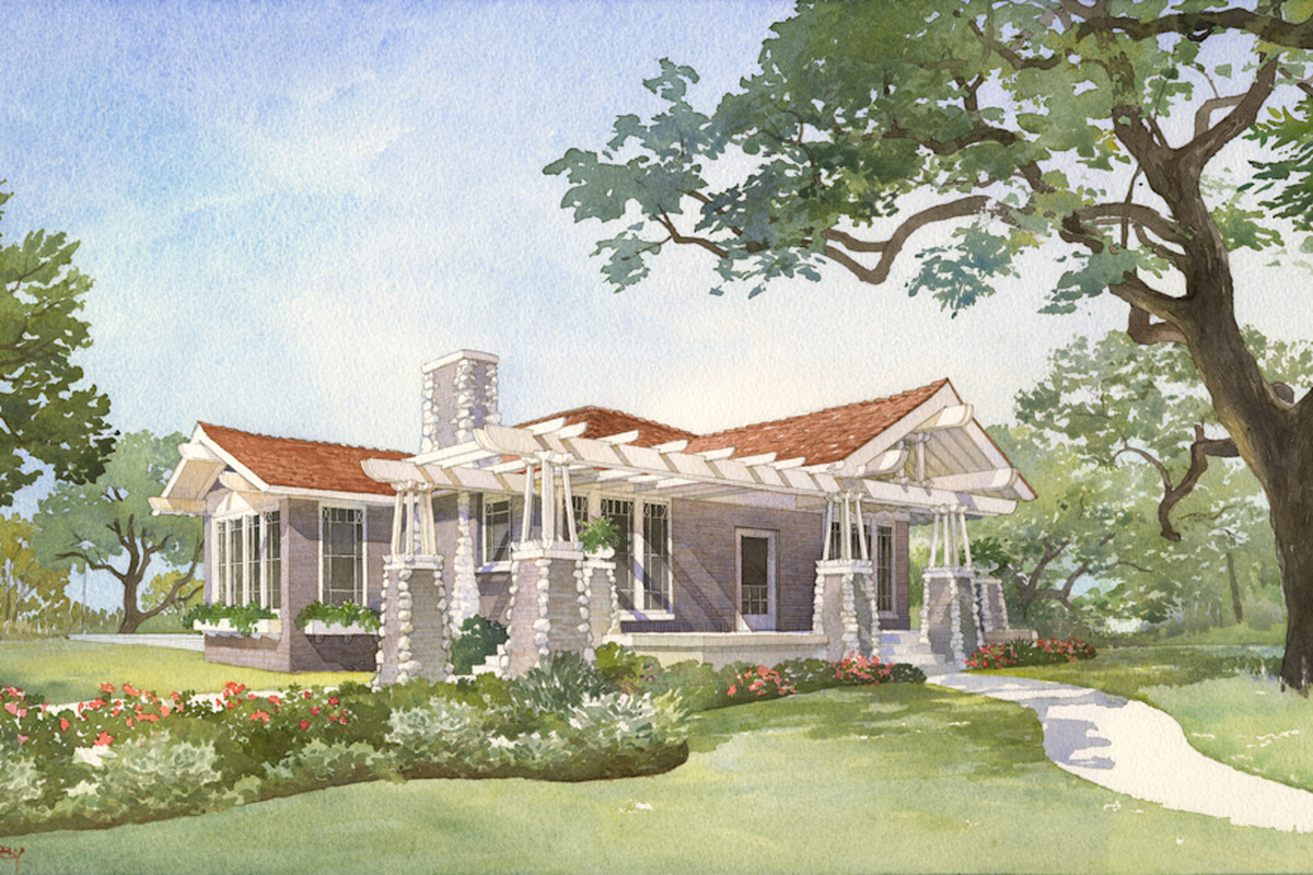 Rendering of an Arts & Crafts style house