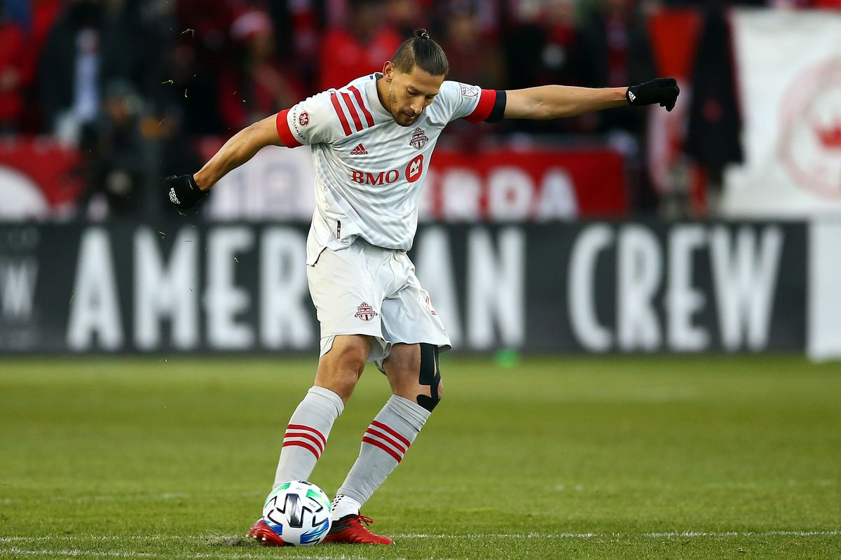 Omar González #44 of Toronto FC shoots the ball during the first half of an MLS game against New York City FC at BMO Field on March 07, 2020 in Toronto, Canada.