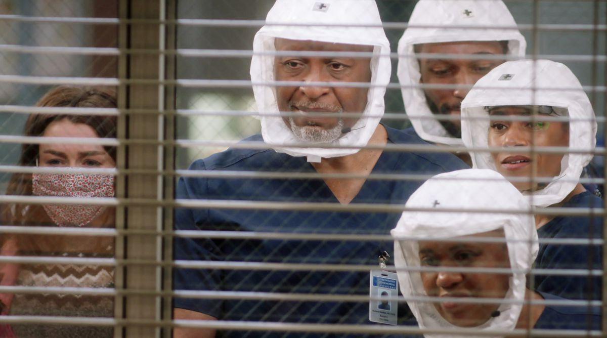 Doctors at Grey-Sloan Memorial look in at Meredith as she wakes up.