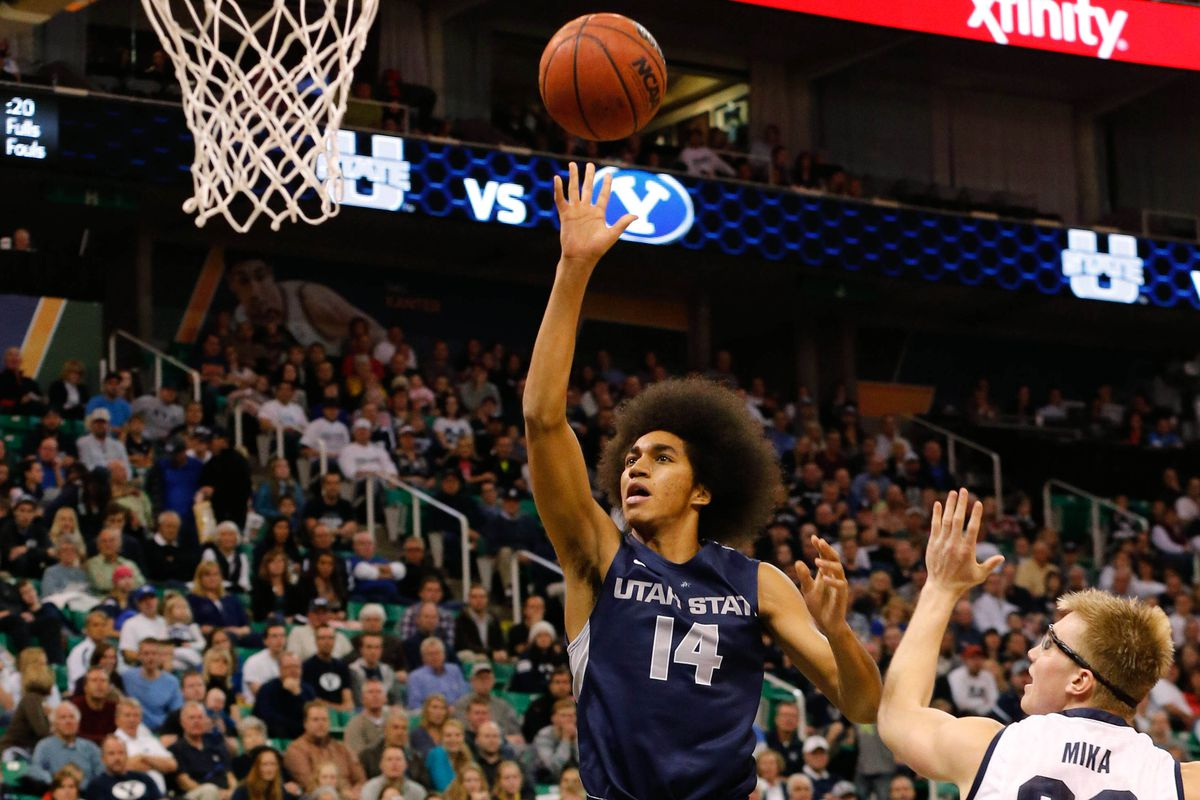 Jalen Moore goes up for a shot against BYU last year.