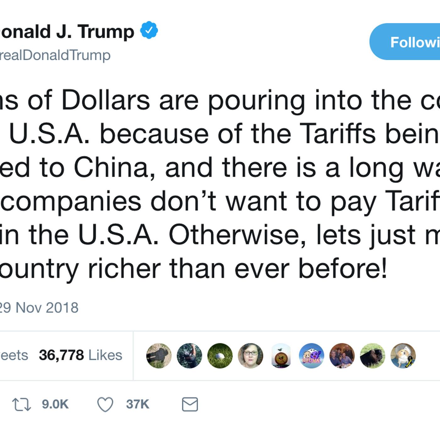 "Trump says tariffs make the US ""richer than ever before"