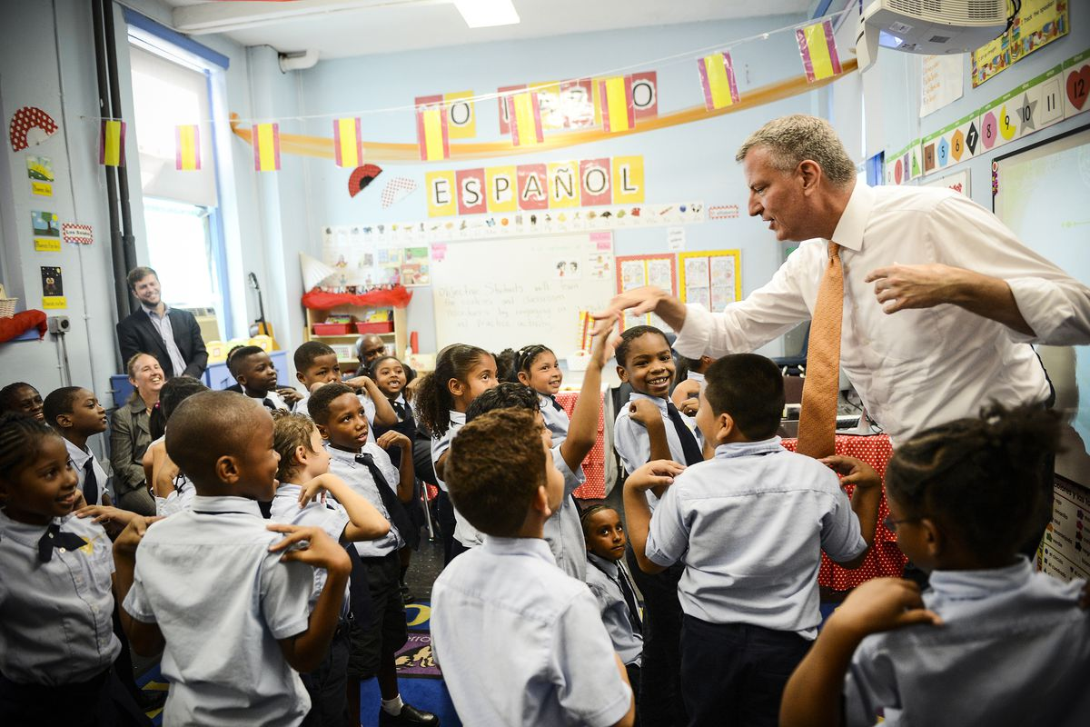 New York Mayor Bill de Blasio seen touring universal pre-kindergarten programs throughout New York City, on September 4, 2014.