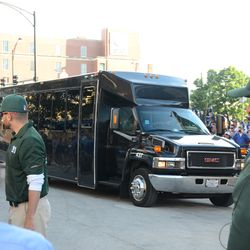 6:31 p.m. First of two Blackhawks team buses arrives -