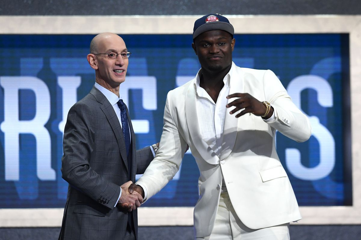 Zion Williamson poses with NBA Commissioner Adam Silver after being drafted with the first overall pick by the New Orleans Pelicans during the 2019 NBA Draft at the Barclays Center on June 20, 2019 in the Brooklyn borough of New York City.