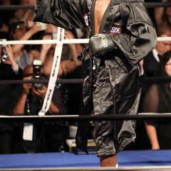 Five-time heavyweight champion Evander Holyfield gets ready to fight former Massachusetts Gov. Mitt Romney at Charity Vision Fight Night at The Rail Event Center in Salt Lake City on Friday, May 15, 2015.
