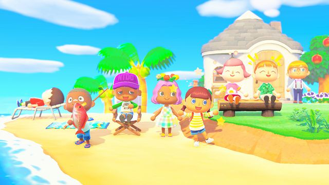Villagers line up along the beach to welcome new players in a promotional still from Animal Crossing: New Horizions
