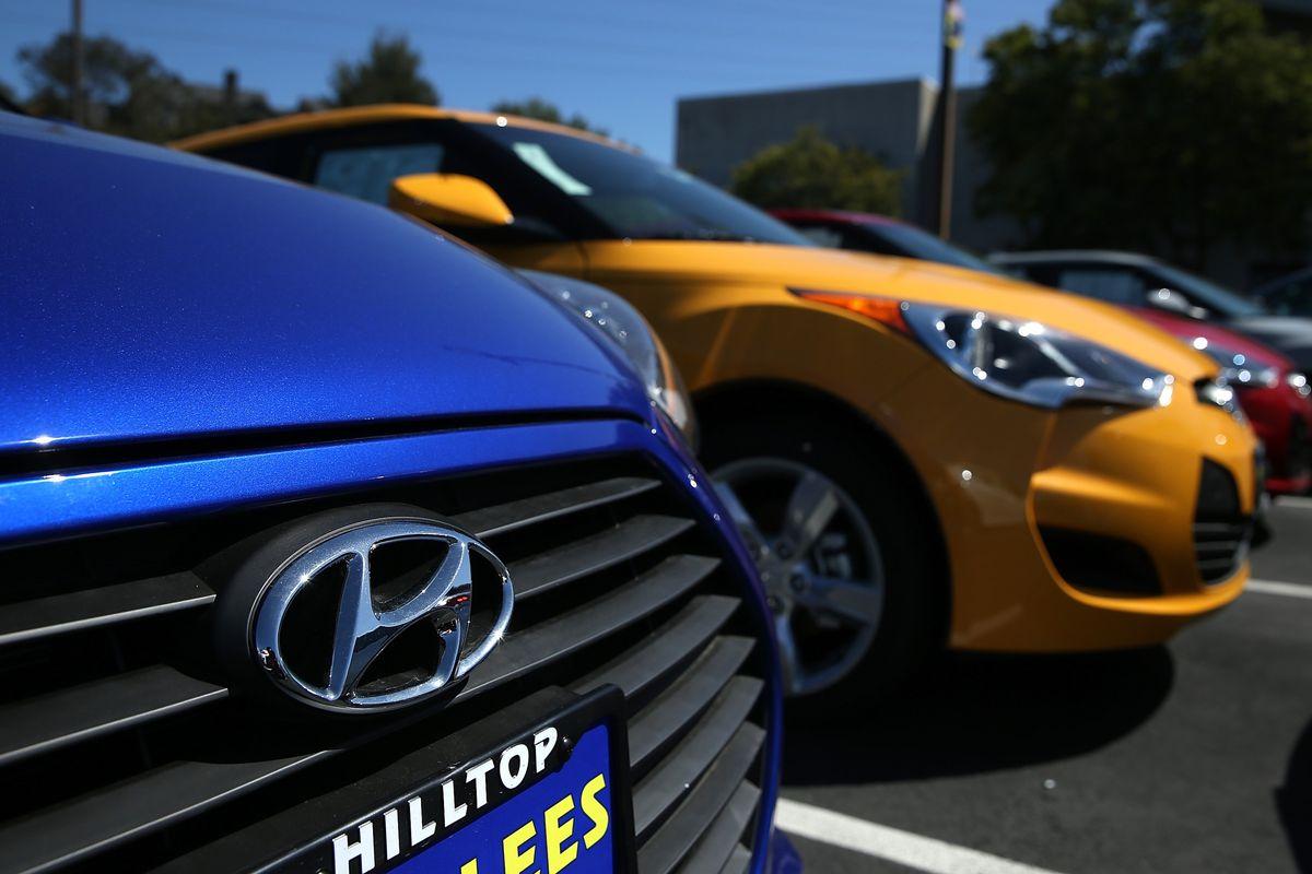 New Hyundai cars sit on the sales lot at Hanlees Hyundai on May 27, 2014 in Richmond, California.