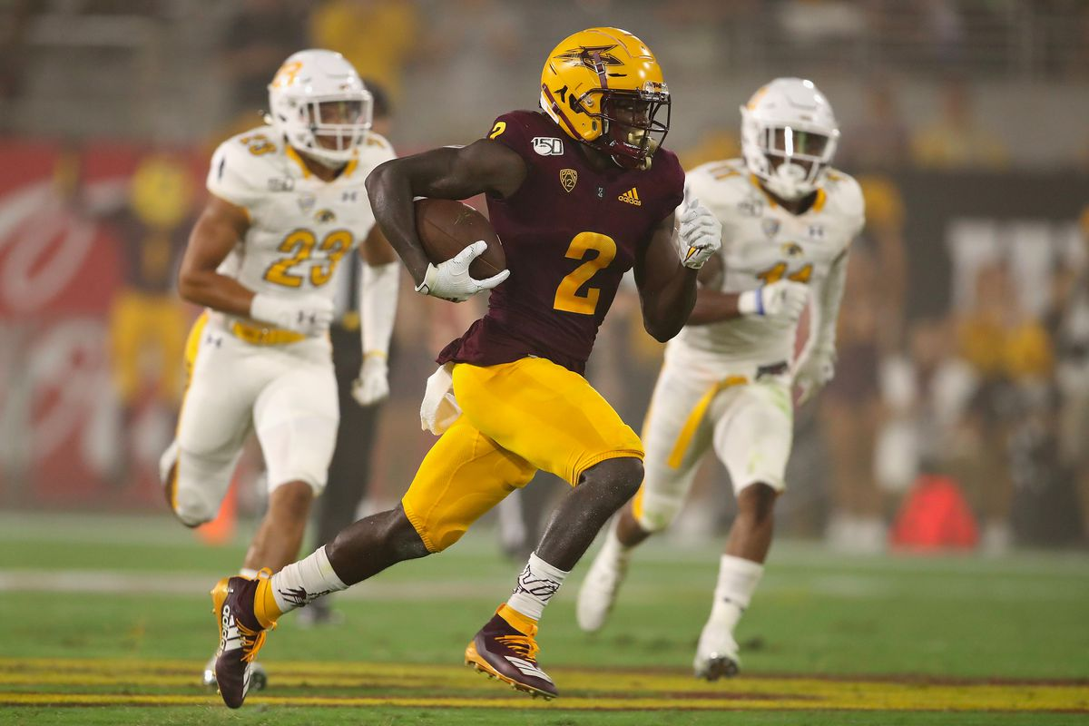 Wide receiver Brandon Aiyuk #2 of the Arizona State Sun Devils runs with the football en route to scoring on a 77 yard touchdown reception against the Kent State Golden Flashes during the second half of the NCAAF game at Sun Devil Stadium on August 29, 2019 in Tempe, Arizona.