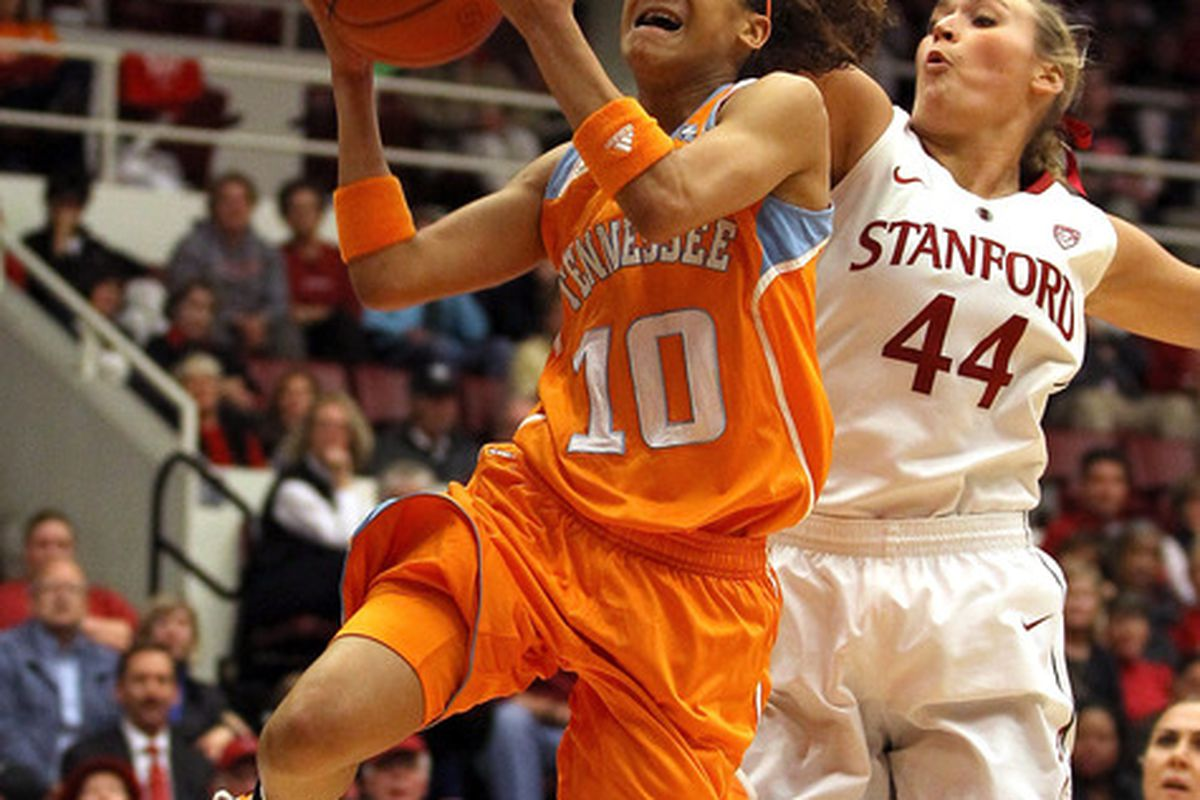 After going 1-for-6 in the Tennessee Lady Vols first game against the Kentucky Wildcats, point guard Meighan Simmons could be a key player in tonight's meeting at 7 p.m. EDT on ESPN2. (Photo by Ezra Shaw/Getty Images)