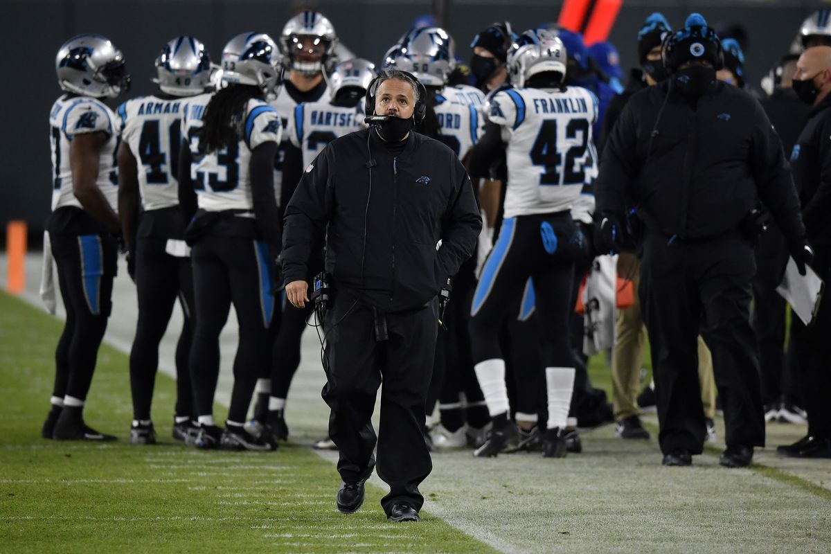 Head coach Matt Rhule of the Carolina Panthers looks on from the sidelines during the first half of the game against the Green Bay Packers at Lambeau Field on December 19, 2020 in Green Bay, Wisconsin.